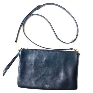 Fossil Navy Blue Leather Crossbody Bag